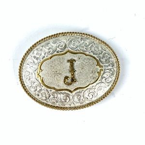"Vintage Crumrine Silver Plate ""J"" Belt Buckle"